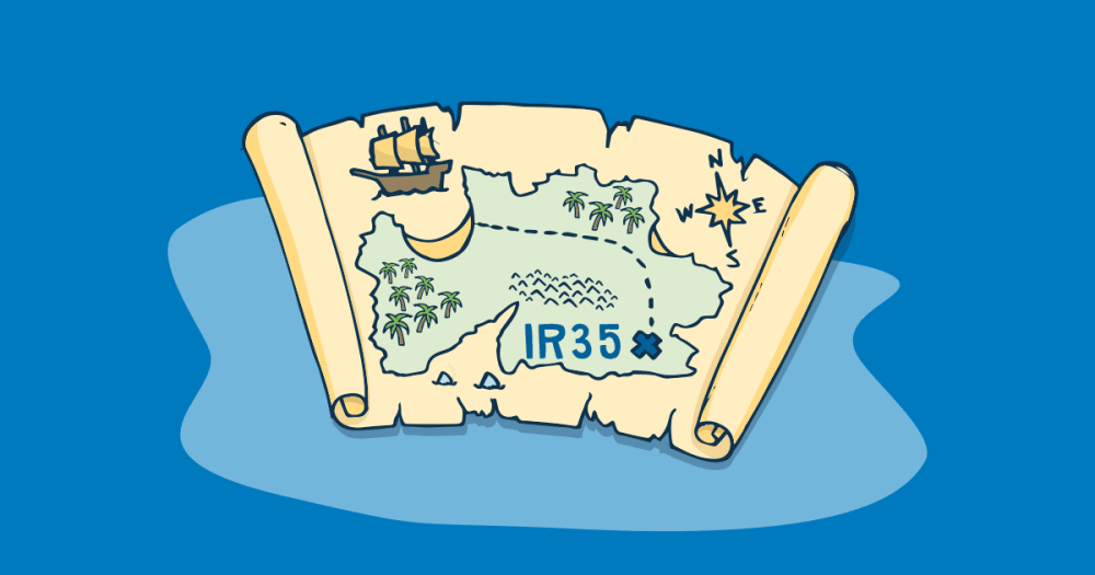 A pirate map is shown on an island with IR35 as the X that marks the spot