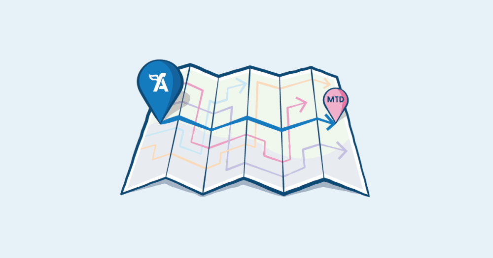 Illustration depicting a map with both FreeAgent and MTD marked out with a path between them.