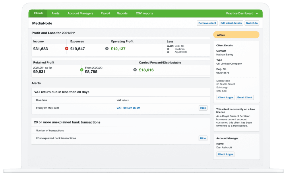 The FreeAgent Practice Dashboard