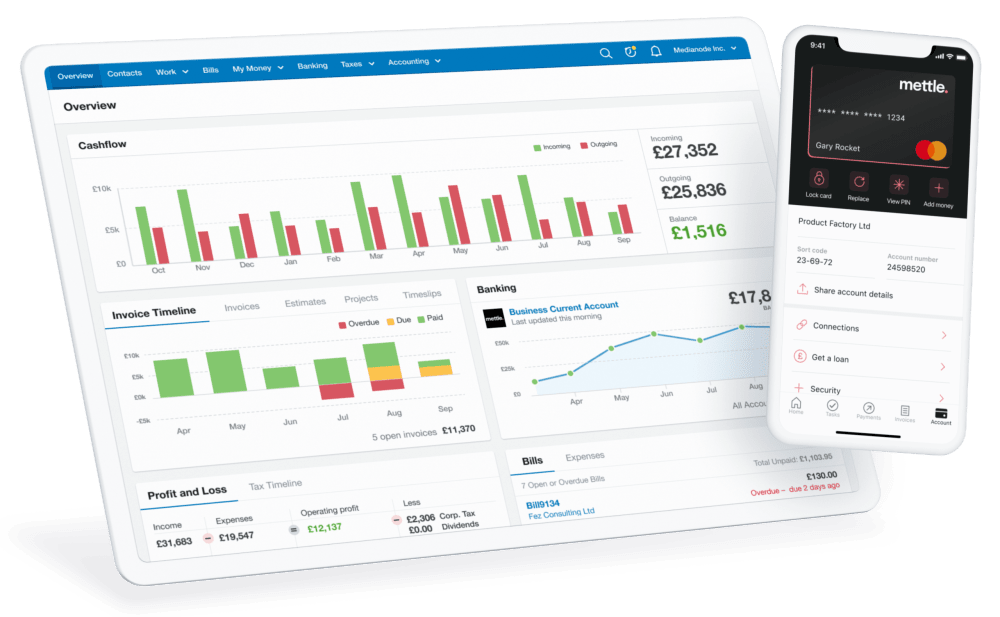 Mettle mobile app floats above FreeAgent dashboard