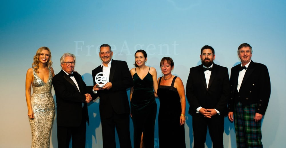 The FreeAgent team accepting their award