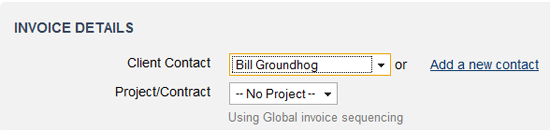 Invoicing without a project
