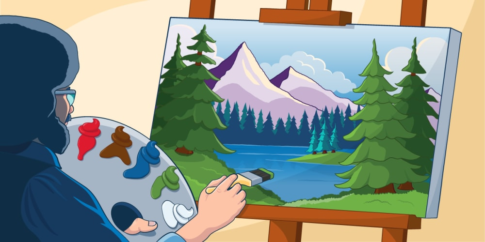 Bob Ross in the process of painting a masterpiece!