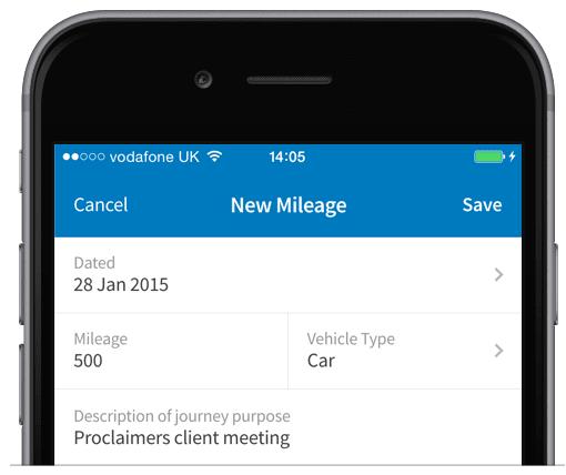 Logging a mileage claim in FreeAgent Mobile