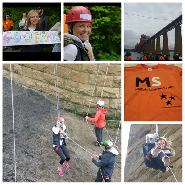 Collage of photos from Jennie's abseil