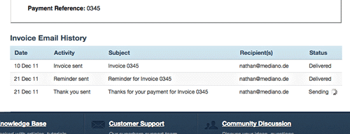 Invoice email history