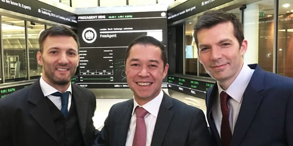 freeagent's founders at the london stock exchange