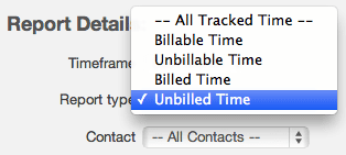 Unbilled time report