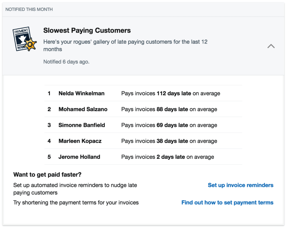 The late payment Insight in FreeAgent
