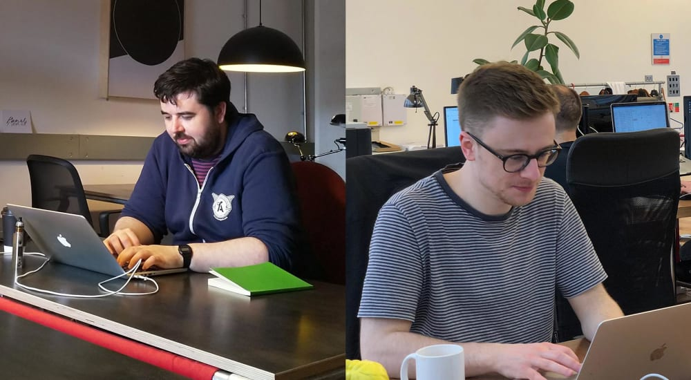 Shane and Colin in coworking spaces