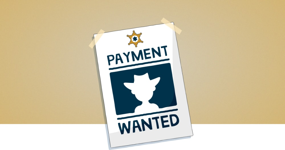 Wanted poster for late payers