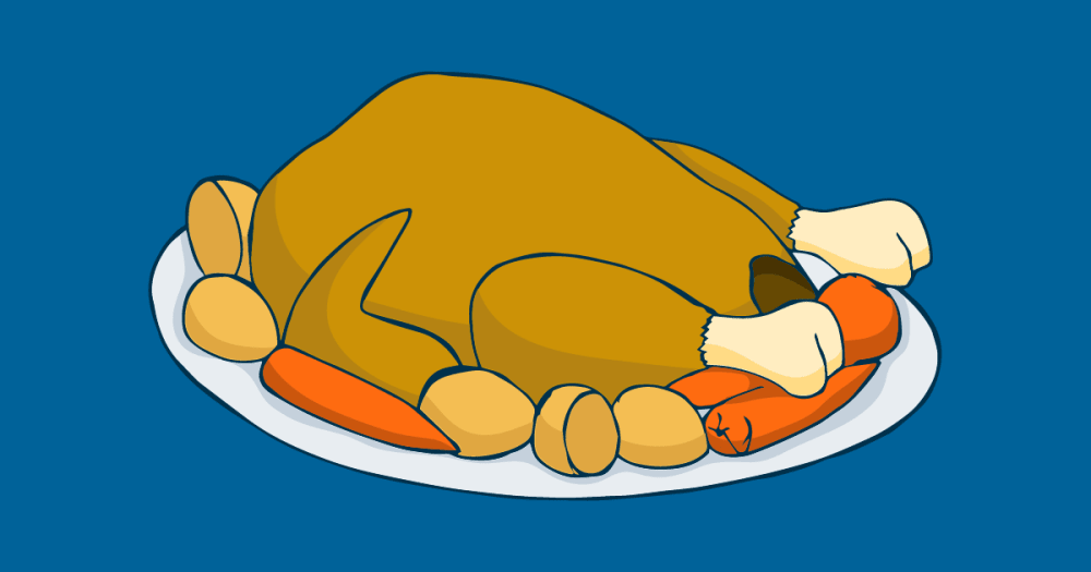 A large christmas turkey is seen on a blue background