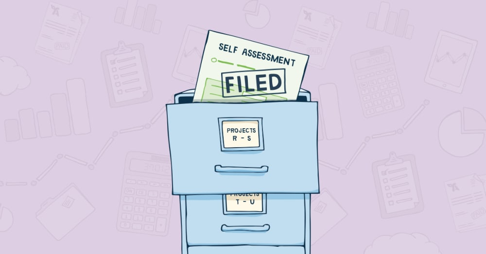 Filing cabinet marked Self Assesssment with completed tax return pages marked filed