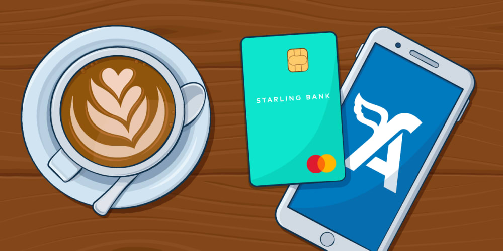 Starling Bank card beside FreeAgent Mobile and a flat white