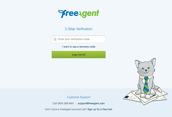 Authentication code login page