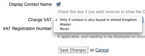 Change VAT Settings