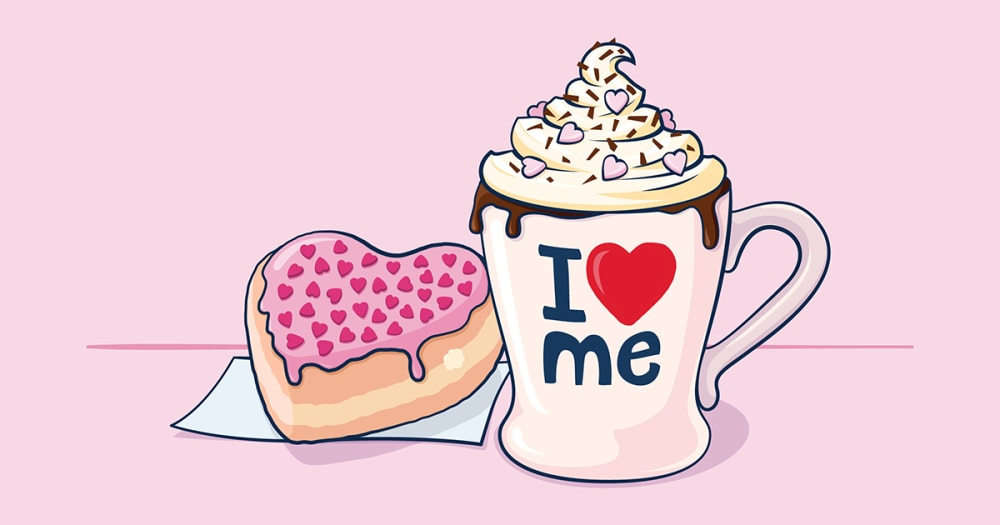 """A heart shaped donut and a mug overflowing with hot chocolate is seen. The mug says """"I love me"""" on it."""