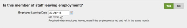 selecting yes to the question 'is the employee leaving?'