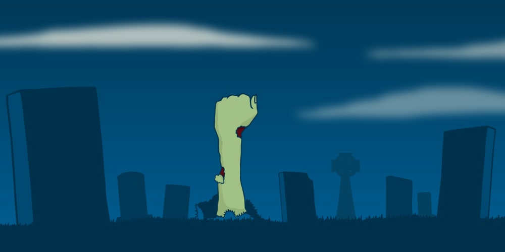 A green, deteriorated, Zombie-like arm raises from the ground in a graveyard.