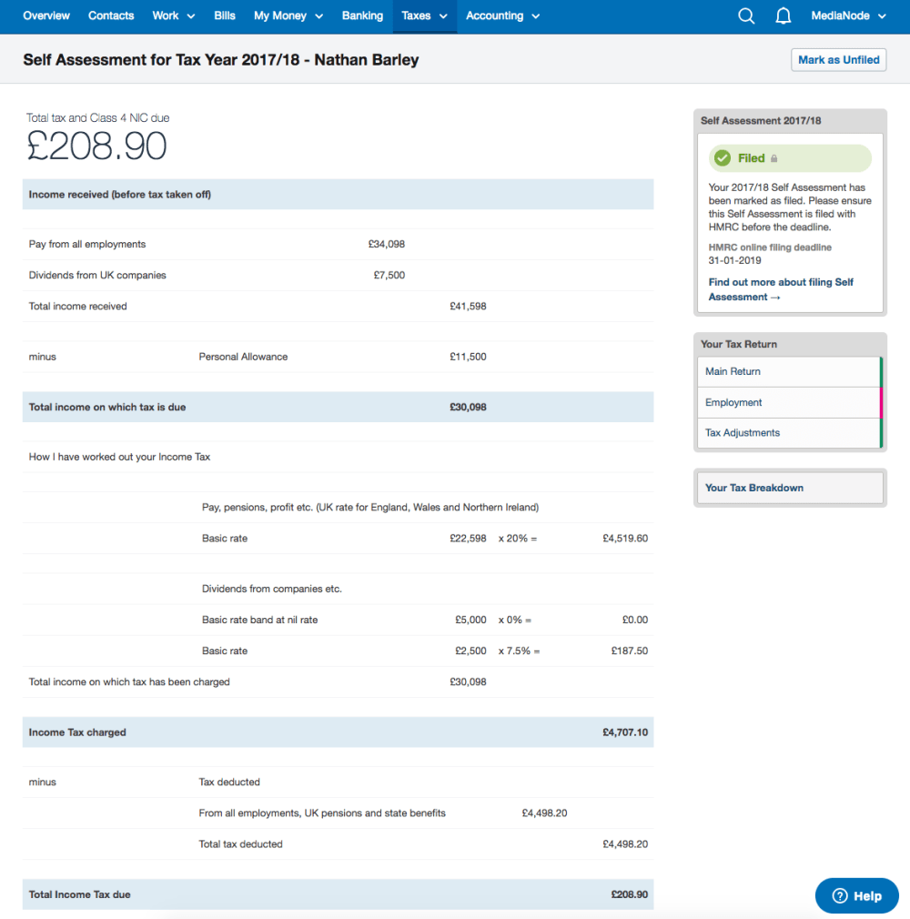 Example SA302 form in FreeAgent