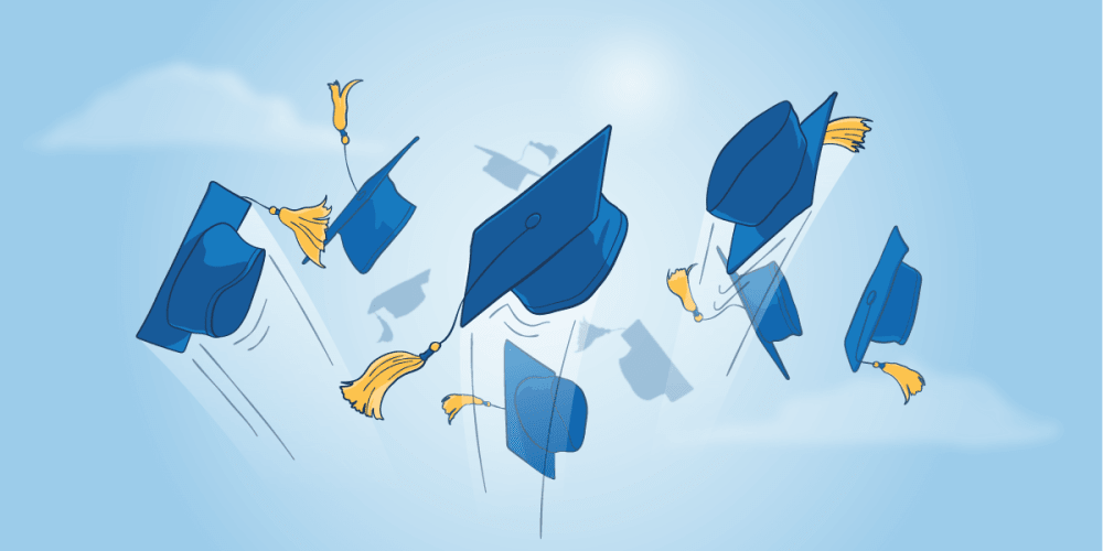 Mortar board hats fly in the air on a blue background