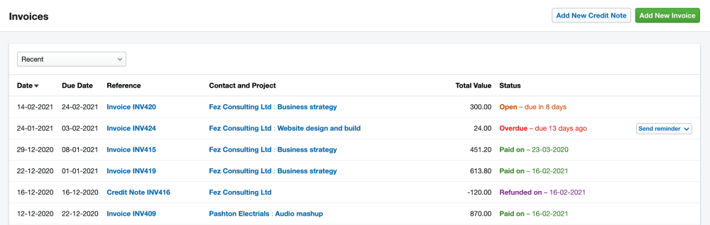Invoice timeline in FreeAgent accounting software.