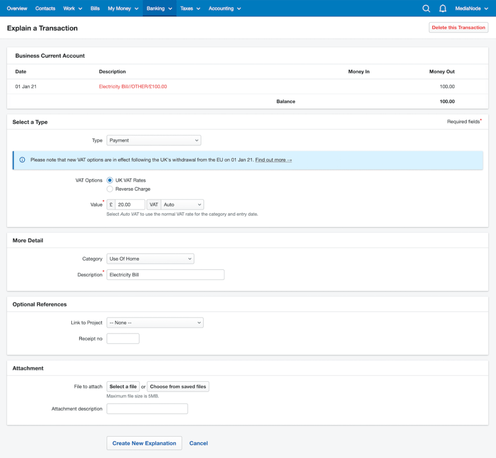 Explaining working from home expenses in FreeAgent.