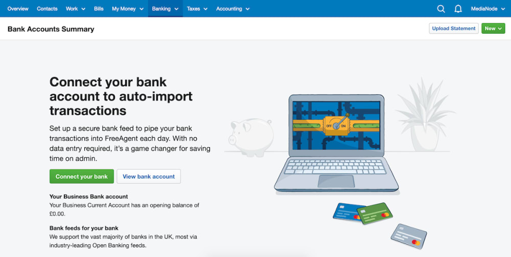 Banking overview in FreeAgent