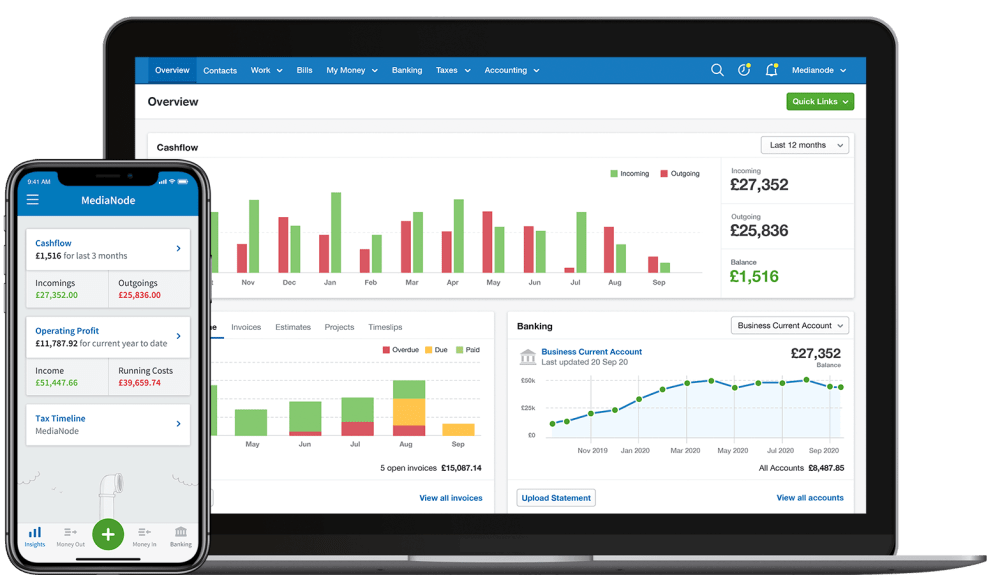 FreeAgent accounting software's overview screen