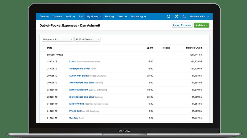 FreeAgent Expenses on the desktop app