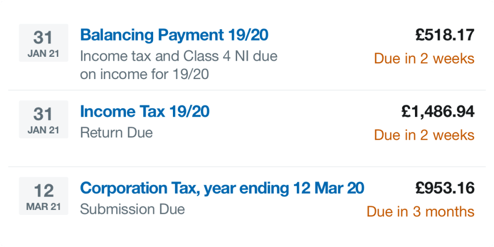 The tax timeline in FreeAgent