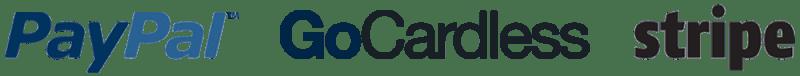PayPal, GoCardless and Stripe logos